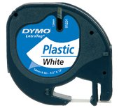 LETTERTAPE DYMO 91201 LETRATAG 12MMX4M PLAST WT/ZW